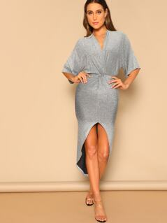 Twist Front Dip Hem Glitter Dress