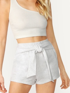 Heathered French Knit Terry Belted Shorts