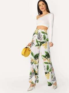 High Waisted Floral Leaf Wide Leg Palazzo Pants