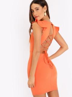 V-Neck Ruffle Sleeve Lace Up Back Knit Mini Dress