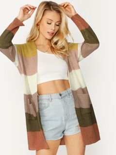 Open Front Dual Pockets Lightweight Knit Cardigan