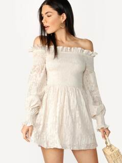 Off Shoulder Smocked Bodice Mini Peasant Dress