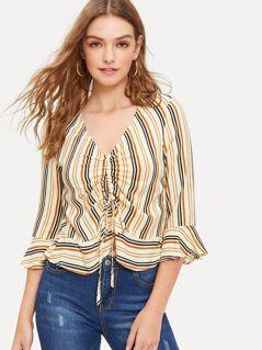 Mixed Striped Drawstring Ruffle Blouse
