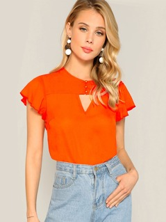 Neon Orange Keyhole Top