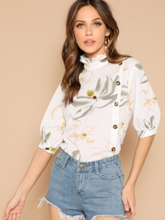 Frill Neck Side Button Floral Top