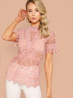 Mock-neck Guipure Lace Top Without Bra