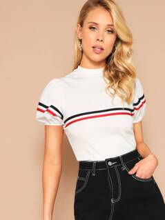 Mock Neck Puff Sleeve Striped Detail Top