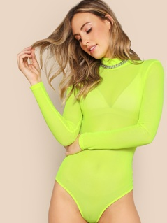Neon Lime Sheer Bodysuit Without Bra & Chain