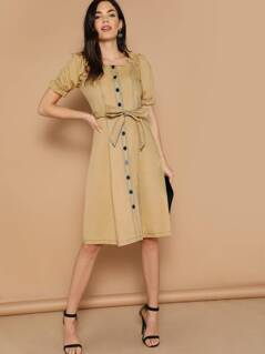 Off Shoulder Contrast Stitch Button Up Dress