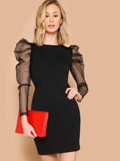 Sheer Mesh Gigot Sleeve Pencil Dress
