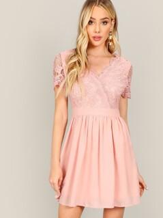Surplice Neck Guipure Lace Bodice Dress
