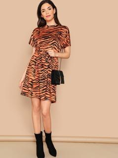 Self Belted Zebra Print Dress
