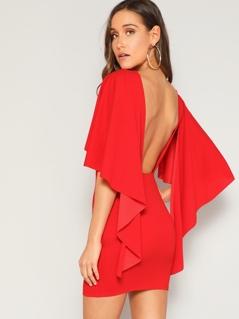 Open Back Asymmetrical Cloak Sleeve Dress