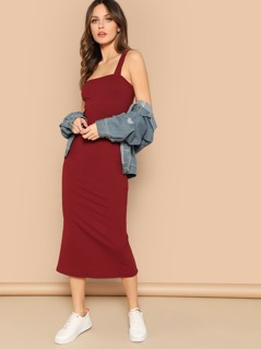 Thick Strap From Fitting Ribbed Dress