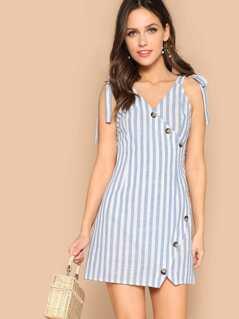 Self Tie Shoulder Asymmetrical Placket Striped Dress