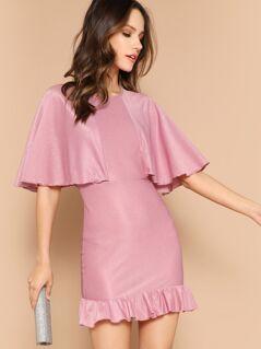 Ruffle Hem Solid Cape Dress