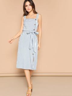 Slit Hem Buttoned Striped Dress