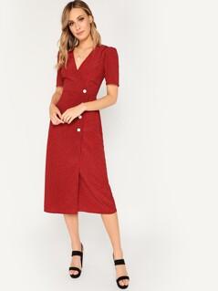 Button Front Surplice Neck Wrap Dress