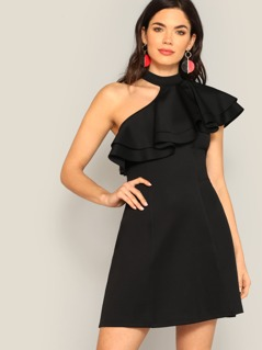 Choker One Shoulder Layered Flounce Trim Dress