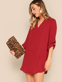 Curved Hem Roll Up Sleeve Shirt Dress