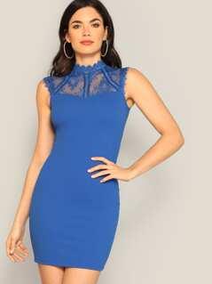 Eyelash Yoke Sleeveless Bodycon Dress