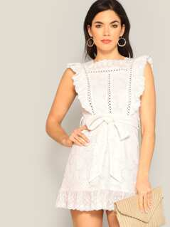Eyelet Embroidered Ruffle Trim Belted Lace Dress