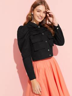 Button Up Flap Pocket Puff Sleeve Ruched Jacket
