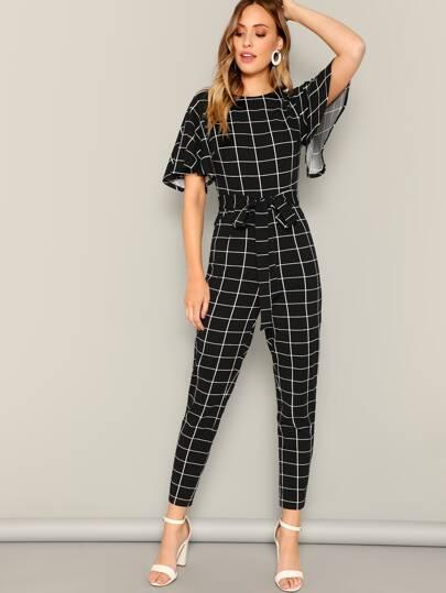 SheIn / Flutter Sleeve Belted Grid Print Jumpsuit