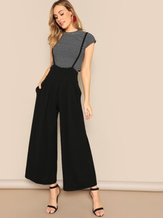 Zip Back Slant Pocket Wide Leg Pants With Strap