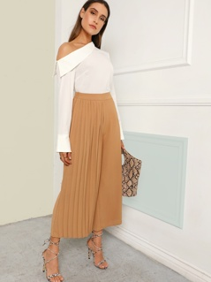 Pleated Panel Wide Leg Pants