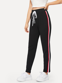 Drawstring Waist Striped Side Rib-knit Pants