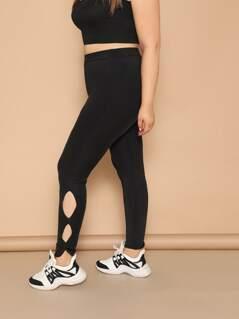 Plus High Waist Cutout Side Leggings