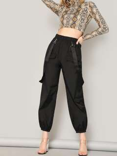 Elastic Waist Tapered Pants With Strap