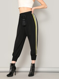Stripe Side Shirred Hem Drawstring Pants