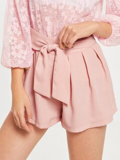 Waist Knot Zip Side Pleated Solid Shorts