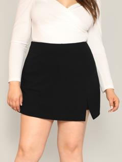 Plus Split Front Solid Skort Shorts