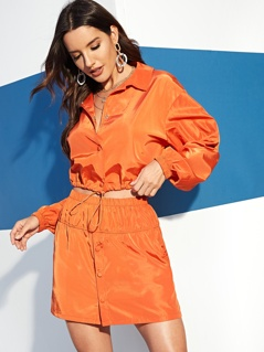 Button Front Slant Pocket Neon Orange Skirt