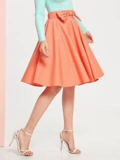Bow Detail Flared Skirt