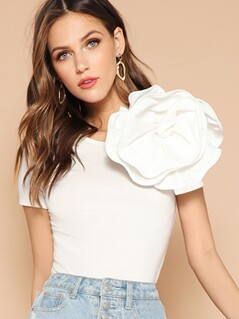 Solid Flower Embellished Fitted Top