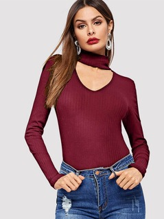 Choker Neck Rib-knit Form Fitting Tee