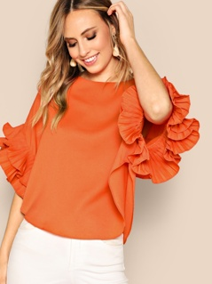 Neon Orange Tiered Ruffle Sleeve Top