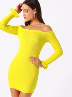 Neon Yellow Lettuce Trim Off Shoulder Pencil Dress