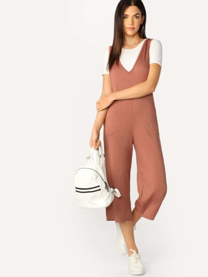 V Neck Slant Pocket Solid Crop Tank Jumpsuit