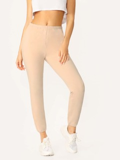 Elastic Waist Side Pockets Sweatpants