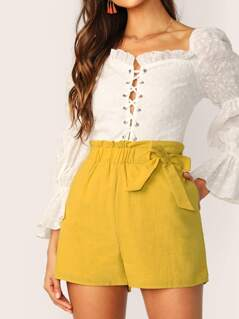 Ruffle Waist Tie Loose Fit Side Pocket Shorts
