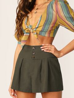 Button And Zip Front A-Line Relaxed Shorts