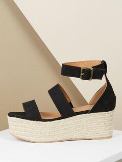 Double Band Ankle Strap Jute Trim Flatform Sandals