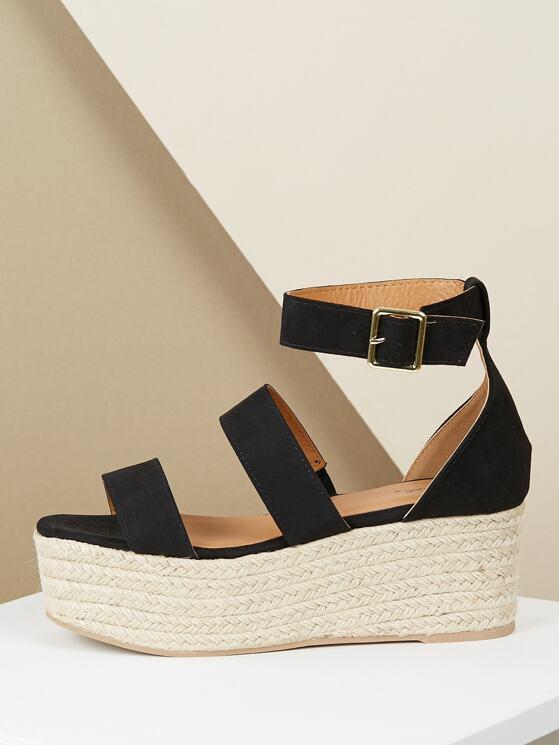 46134aeda75 Double Band Ankle Strap Jute Trim Flatform Sandals