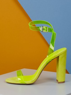 Single Clear Band Ankle Strap Chunky Heel Sandals