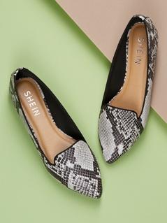 Snake Print Loafer Flats